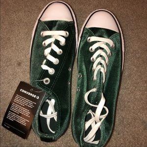 Emerald Green Velvet Converse